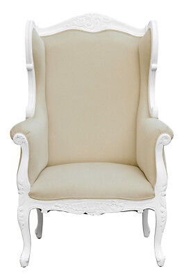 French Louis XV  Wing Chair  - White  with Oatmeal Natural fabric