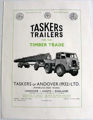 TASKERS Trailers Timber Trade Original Commercial Sales Brochure 1950s #1105