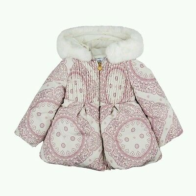 NWT NEW Young Versace baby toddler girls magnificent logo coat white fur 3y