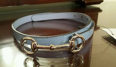 NWT NEW Gucci girls boys blue patent leather horsebit buckle belt S M L