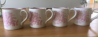 Burleigh Pink Asiatic Pheasant Classic Mugs Cups Set of Four VGC RRP £80+