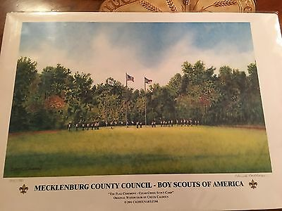 Boy Scouts, Watercolor Print Signed, Numbered by Chuck Calhoun, Flag Ceremony