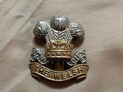 WW1 Welsh Regiment British Cap Badge Maker marked Smith & Wright Ltd Birmingham
