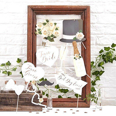 Photo Booth Props WEDDING Party Rose Gold Fun Day Beautiful Botanics Bride Groom