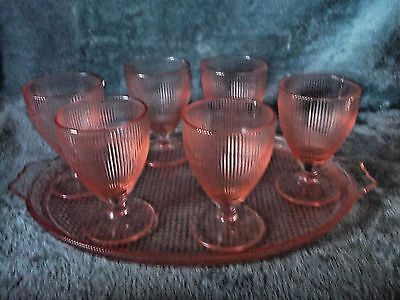 Jeannette Glass Depression Glass Homespun Pink Tray & 6 Tumblers Glasses Euc