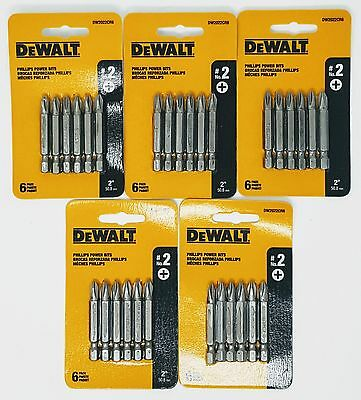 "(5-PACKS) DEWALT DW2022CR6 #2 Phillips 2"" Long Power Bits"