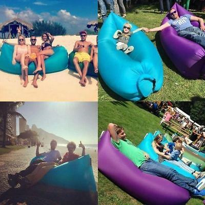 Lazy Lounger Fast Inflatable Air Bed Sofa Hangout Pool Camping Beach Lay+ Bag UK