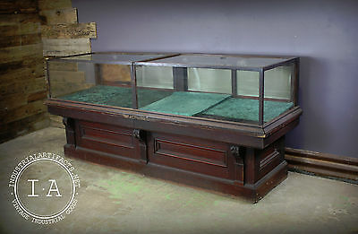 Antique Two Section 18 Drawer Display Case Mercantile Counter Cabinet