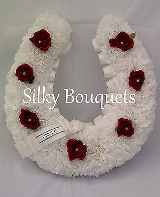 Artificial Silk Funeral Flower Horseshoe Tribute Memorial Wreath Horse False