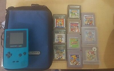 Game Boy Color System Console Lot with games Nintendo gameboy GB GBC case teal