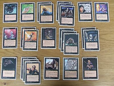 MTG 4th Edition Black 3 x Uncommon 22 x Common Lot 25 cards Mostly Slight Play