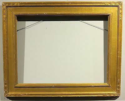 c.1920 antique carved Arts & Crafts gilt gold frame 12 x 16 inches