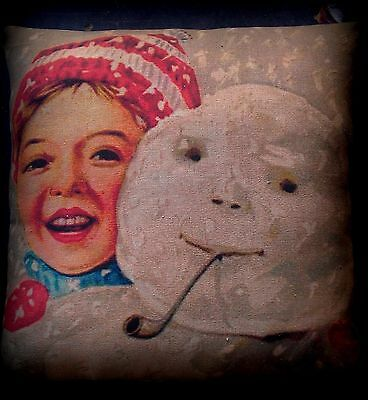 Christmas antique winter boy selfie with snowman snow pillow country vintage