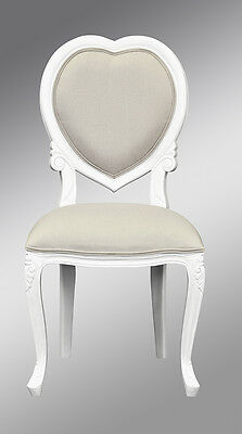 French Louis XV Medee Bedroom Chair  - French White with Oatmeal fabric