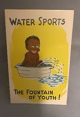 """Antique Black Americana Postcard  Child """"The Fountain of Youth, Water Sports"""" NR"""