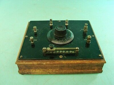 Antique Early Homebrew Crystal Radio Set Wooden Body Bakelite Plastic Faceplate