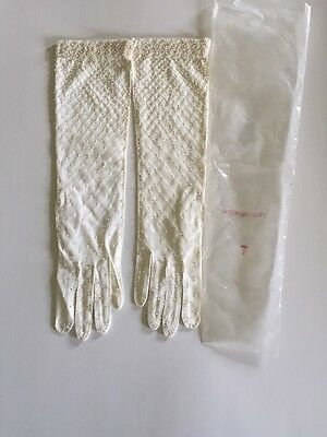 "Vintage 50s 60s Beaded White Woven Cotton Evening Gloves 14"" Size 7 NIP"