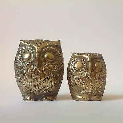 Vintage Retro Solid Brass Owl Ornaments Paperweights X 2 Figures