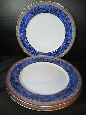 Christian Dior Azure Royale 3 Dinner Plates Cobalt Blue Marbled Rim Gold Trim