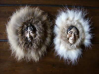 Alaskan Inuit Carved Male / Female Heads In Genuine Fur Hood & Collar By A.R.T.