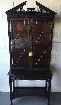 Chippendale Style Solid Mahogany or Rosewood Glass Front Display Cabinet