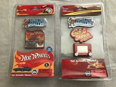 LOT OF 2 NEW World's Smallest Etch-a-Sketch and Hot Wheels (It Works!!)