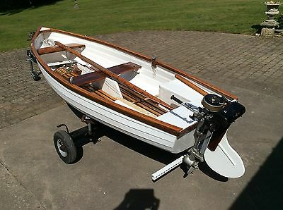 Prettylittle Fishing Boat With Engine And Sails Grp...- 12 Ft.long 5ft. Wide.