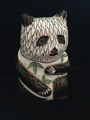 Cloisonne Panda with bamboo leaves chinese vintage collectible