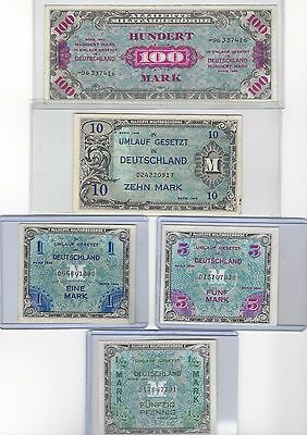 German Military Occupation  Allied Currency 1944 Series UNC 100 10 5 1 1/2 MARK