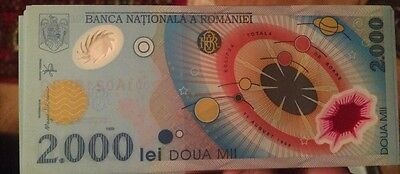 Romania 2000 Lei P111 1999 Commemorative Polymer Unc Solar Eclipse Currency Note
