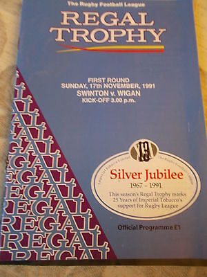 17.11.91 Swinton v Wigan programme Regal Trophy