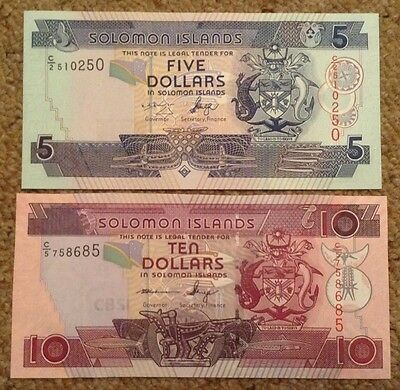 2 X Solomon Island Banknotes. 5 & 10 Dollars. Uncirculated.