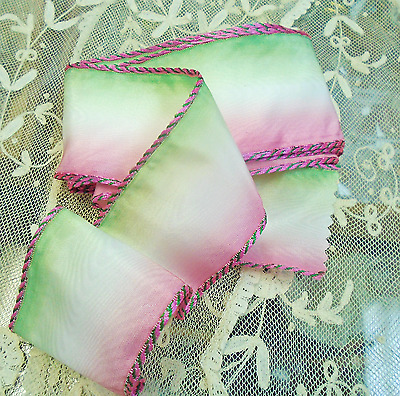 """Vintage 2"""" Moire' Pink / Green/ Ombre French Wired Ribbon-Saddle Stitch Edge Nos"""