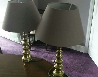 Pair of Two Antique Brass Table Lamps