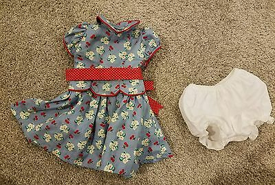 American Girl Emily Meet Dress blue red white flowers & bloomers