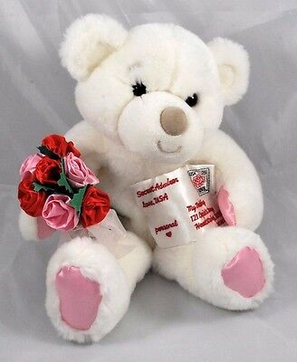 Rose Bouquet Plush White Teddy Bear Chuckles Stuffed Animal w/ Love Letter