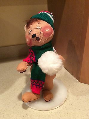Adorable Annalee Vintage 11 Inch Figure Throwing Snowball Marked 1984