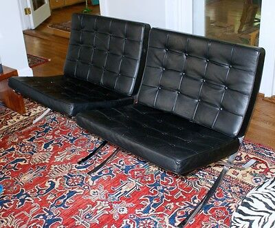 Pair Vintage Barcelona Chairs Black genuine Italian leather & Barcelona Table