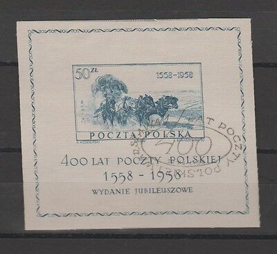Poland 1958 used souvenir sheet printed on silk