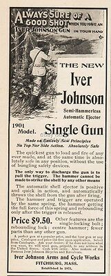 1900 Iver Johnson Arms 1901 Semi Hammerless Automatic Ejector Rifle Hunting Ad