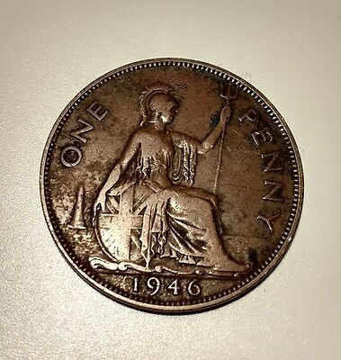 British One Penny Coin 1946 Almost UNC Grade Toned Lovely.