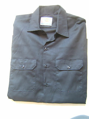 Dickies 574 Men's Long Sleeve Button Down Workshirt XL Black NWT Extra Large New