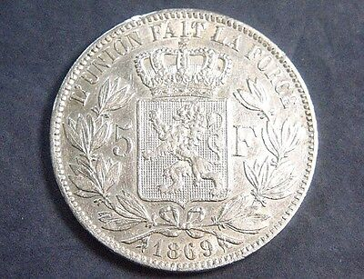 1869  Belgium Leopold ii - 5 Francs (90%) silver 25g  - Nice coin