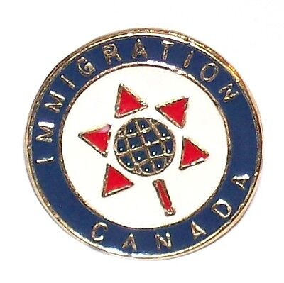 Immigration Canada Gold Tone Lapel Pin Globe Inside Red Maple Leaf