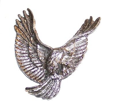Large Flying Eagle With Open Wings Animal Bird Silver Tone Metal Lapel Pin