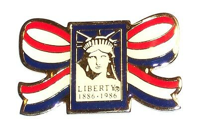 Liberty 1886-1986 Usa Patriotic Colors Ribbon Metal Lapel Pin Statue Of Liberty