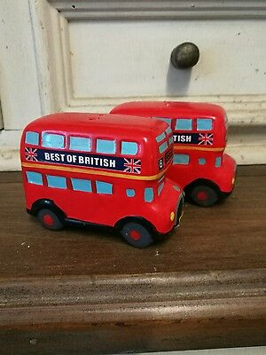 Vintage salt and pepper shakers. Double decker buses!