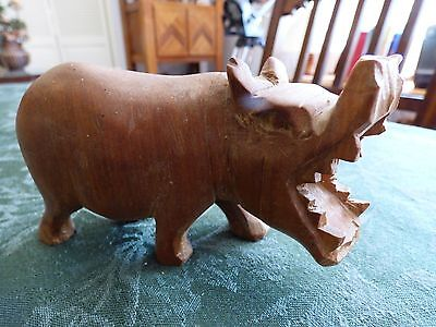 African Hippopotamus Wood Figurine Statue Carved Wooden Wide Open Mouth