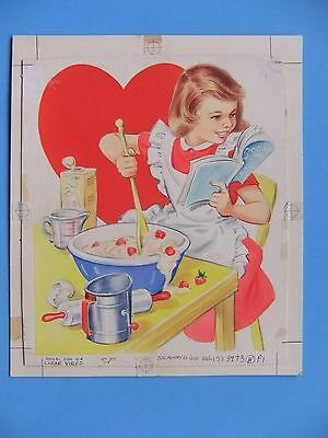 Norcross Greeting Card Art Painting, One-of-a-Kind-Valentine Girl, Dough Baking