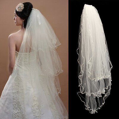 3 Layers Bride Elbow Beaded Edge Pearl Ivory Bridal Wedding Veil with Comb